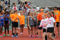 Girls 11-12 400m Relay team before the race