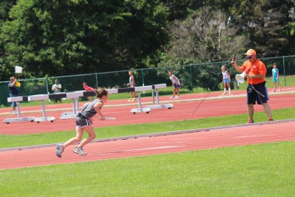 Karlie H. starting the 400m Relay